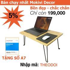 Bàn laptop xếp gọn gỗ cao su TẶNG KÈM SỔ A7 – 60x40cm – bàn làm việc Hiệu Quả