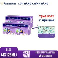 Bộ 4 Lốc 4 hộp sữa nước Anmum Materna Đậm đặc 4X hương Vani 4x125ml Tặng 1 Ví Anmum