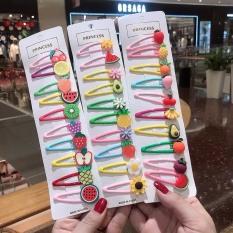 Set 10 kẹp tóc hoa quả xinh xắn dễ thương phong cách Hàn Quốc cho bé yêu D18
