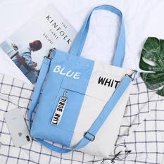 Túi tote vải 2 màu kèm móc khóa