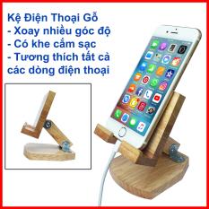 Giá đỡ điện thoại, kệ điện thoại gỗ giá rẻ, thay đổi góc nhìn, dễ dàng gấp gọn, có khe cắm sạc