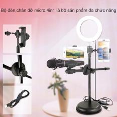 [ XẢ KHO GIÁ SỐC ] Bộ Kẹp 4in1 Tích Hợp Đèn Led , Bộ Kẹp Micro Thu Âm Livestream Đa Năng 4in1 Có Đèn LED tích Hợp Giá Kẹp Đa Điện Thoại RX-320B , Sử Dụng Đơn Giản, Thao Tác Dễ Dàng – Nhỏ Gọn, Dễ Mang Theo, Livesstream Mọi Lúc Mọi Nơi