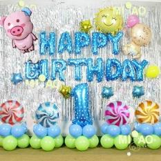 set bóng trang trí sinh nhật cho Bé tuổi Heo/Cún 1 Tuổi/ 2 Tuổi + bơm keo