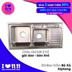 Chậu Rửa Bát INOX KOREA 92x45cm 2 Hố + 1 Gài Dao + 1 Bàn (Đã Bao Gồm Bộ Xả) (Bảo hành 12 tháng – 1 đổi 1 trong vòng 7 ngày) Bộ sản phẩm chưa có vòi rửa