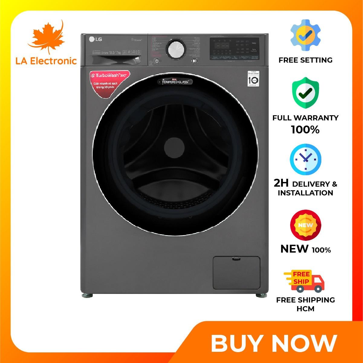 Trả Góp 0% - Máy giặt sấy LG Inverter 10.5 kg FV1450H2B - Miễn phí vận chuyển HCM