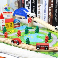 Bộ đồ chơi ghép mô hình thành phố bằng gỗ cho bé phát triển sáng tạo Tặng Tranh Ghép Gỗ 2D