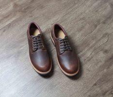 Giày tây cao cấp chính hãng BANULI, kiểu giày vintage B2PD3C0 da bò thật, đế cao su tự nhiên