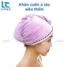 Khăn cuốn tóc gội đầu Living C K59 chùm khô đầu sau tắm siêu thấm nước, khăn thấm hút nước cực tốt, chất vải dày, không ra lông