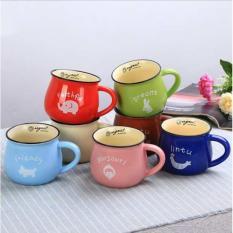 Cốc sứ uống trà tráng men màu