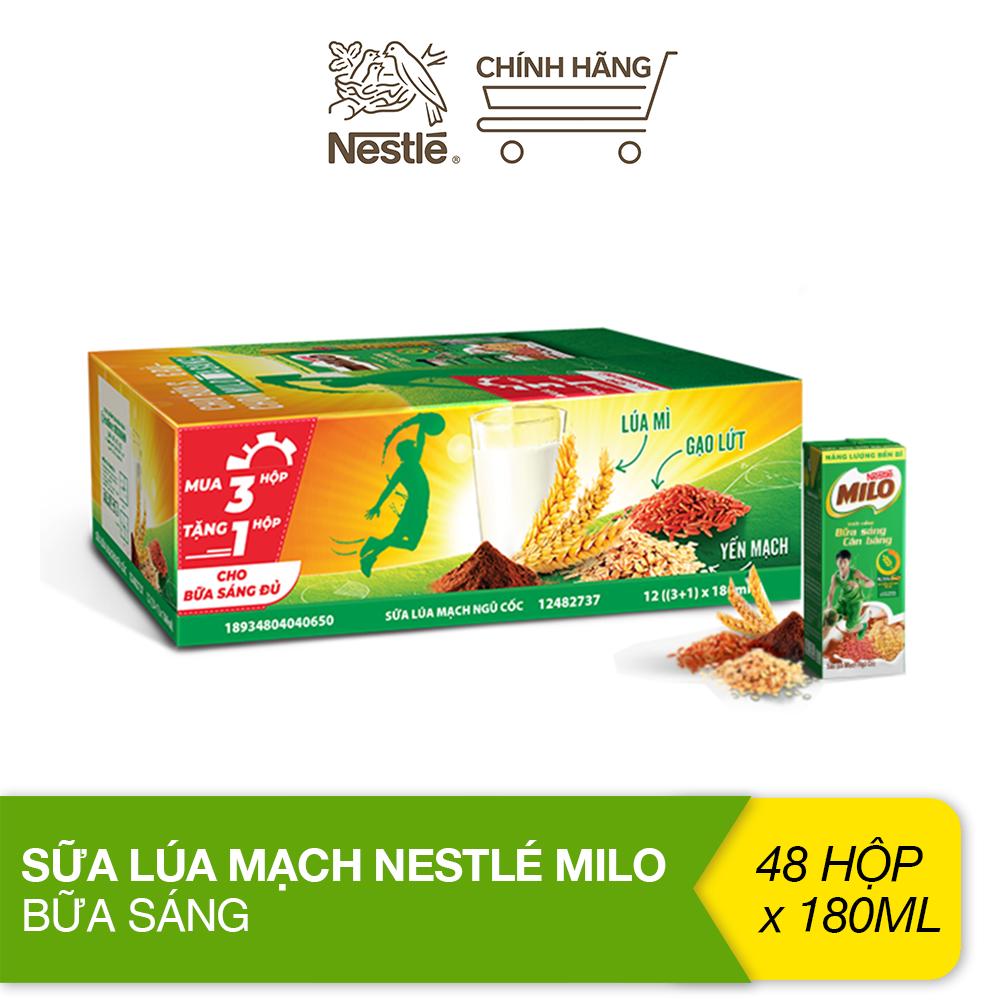 [Phiên bản mua 3 tặng 1] Thùng 48 hộp sữa lúa mạch Nestlé Milo bữa sáng (48x180ml)