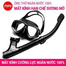 Bộ kính lặn ống thở mắt kính cường lực chính hãng POPO mặt nạ lặn ống thở lặn ngăn nước tuyệt đối, kiếng lặn biển hạn chế sương mờ