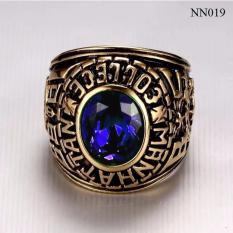 Nhẫn Mỹ 1982 đá xanh biển NN019 XB Trang sức nam cao cấp, Phụ kiện nam bền màu sản phẩm được bảo hành trọn đời.