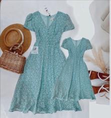 Váy mẹ bé gái cổ chữ v đính hạt thiết kế dáng xòe nhẹ nhàng- chất lieu voan 2 lớp mịn mát ( GIÁ MẸ HOẶC BÉ)