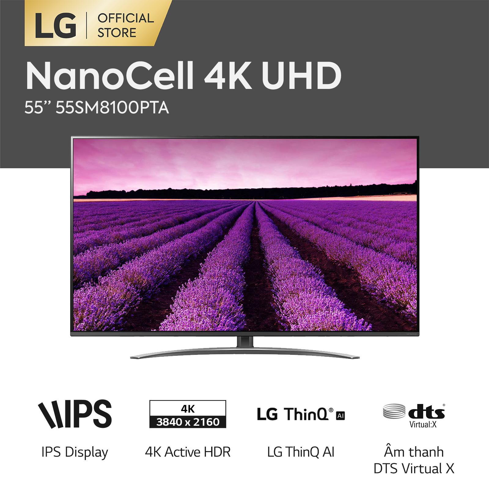 [FREESHIP 500K TOÀN QUỐC] Smart TV LG 55inch 4K UHD – Model 55SM8100PTA (2019) độ phân giải 3840×2160, hệ điều hành webOS 4.0, trí tuệ nhân tạo AI – Hãng phân phối chính thức