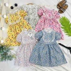 Váy Hoa Nhí phối ren cổ vuông cho bé gái 8-22kg QATE676