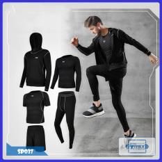 Bộ quần áo gym nam 5 in 1 T-Rex Shop SP037 – Quần áo giữ nhiệt nam có áo khoác (Men's gym clothes, đồ tập quần áo gym, thể dục,thể hình, Fitness)