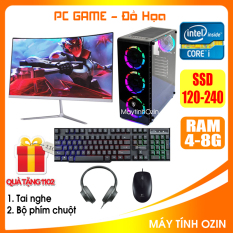 Bộ case PC Game LED CPU Dual Core E7/8xxx / i3-2100 / Ram 4GB-8GB / HDD 250GB – SSD 120GB / VGA 1GB – 2GB chơi PUBG mobile, PUBG lite, LOL, CF đột kích, Fifa, Cs Go, AOE … + Màn hình + [QÙA TẶNG: Bộ phím chuột game + tai nghe] – OZ
