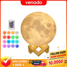Đèn ngủ mặt trăng Moon Lamp 3D cảm biến đổi màu loại 16 màu và 3 màu Size 15cm – Venado
