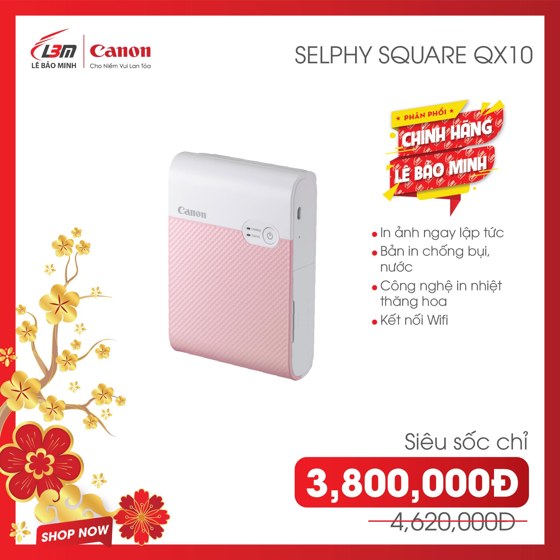[Trả góp 0%] [ Voucher 990k ] Máy in ảnh Canon SELPHY SQUARE QX10