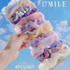 Set 4 cột tóc scrunchies thời trang Hàn Quốc thun đàn hồi cao màu sắc kẹo ngọt 17 MILE