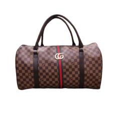 Túi du lịch da PU họa tiết caro phối sọc thời trang
