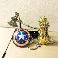Combo 3 Móc Khóa Avengers: Gang Tay Thanos, Búa StormBreaker Thor, Khiên Captain America – Tặng Kệ Trưng Bầy