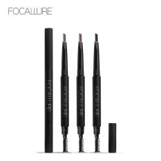 Bút chì kẻ lông mày FOCALLURE không thấm nước bền màu lâu trôi với 3 màu tùy chọn có đầu chải lông màu tiện dụng – INTL