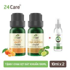 Combo 2 chai tinh dầu quýt, cam hương 24Care + Tặng 1 chai xịt kháng khuẩn