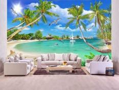 Tranh dán tường cửa sổ 3D cảnh biển đẹp MS T01