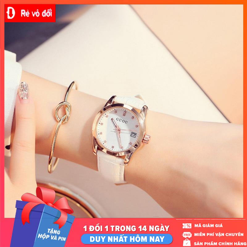 Đồng hồ nữ thời trang GUOU mặt số đính đá, dây da mềm mại cực đẹp – Tặng kèm hộp và Pin – Sam's Shop