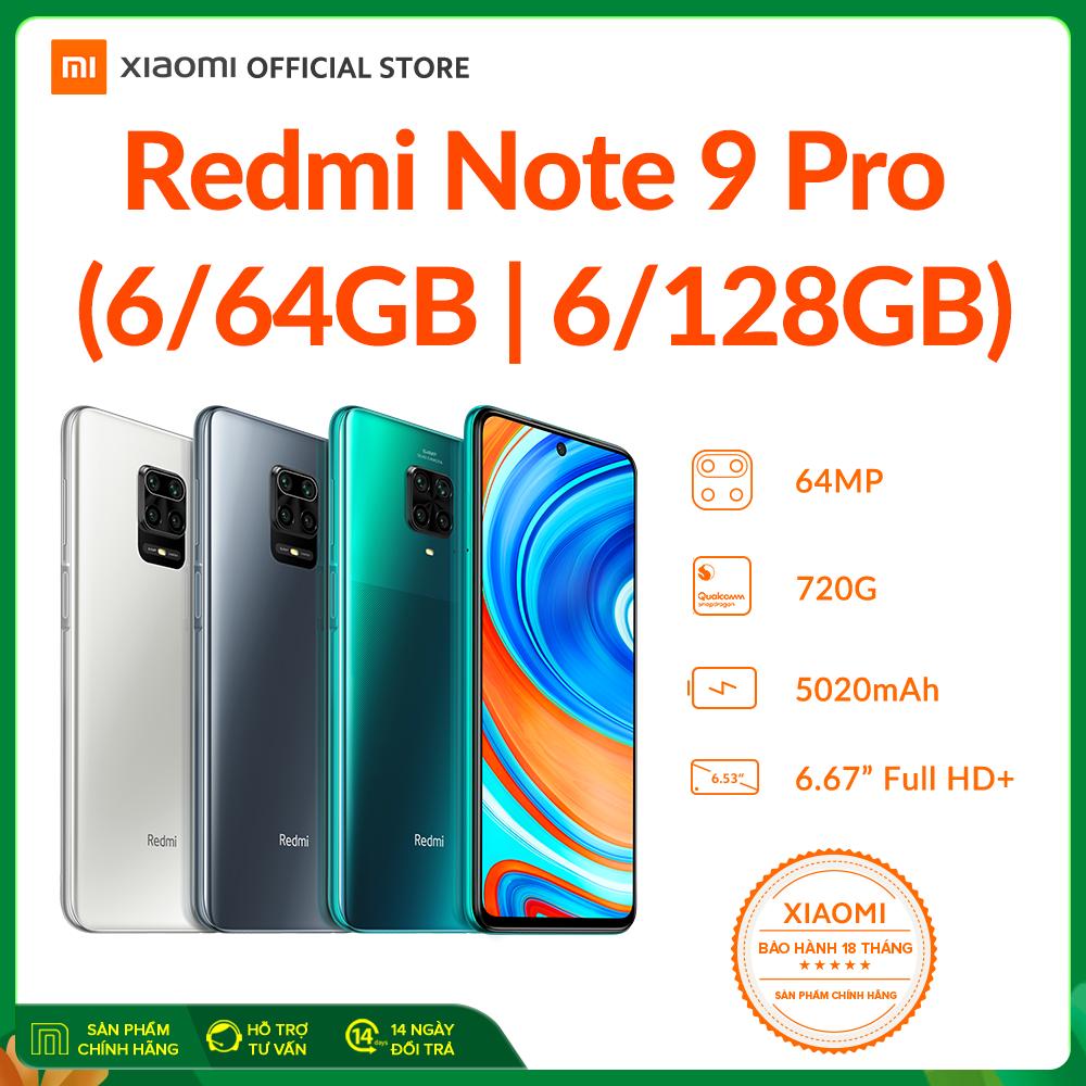 Điện thoại Xiaomi Redmi Note 9 PRO 6GB/64GB | 6GB/128GB – Màn hình 6.67″ FULL HD+, Snapdragon 720G 8 nhân, Camera 64 MP, Camera trước 16MP góc siêu rộng, pin 5020 mAh sạc nhanh 30W – BH Chính hãng 18 tháng