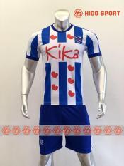 Bộ quần áo bóng đá CLB HEERENVEEN-VĂN HẬU màu TRẮNG SỌC XANH đồ đá banh mới nhất