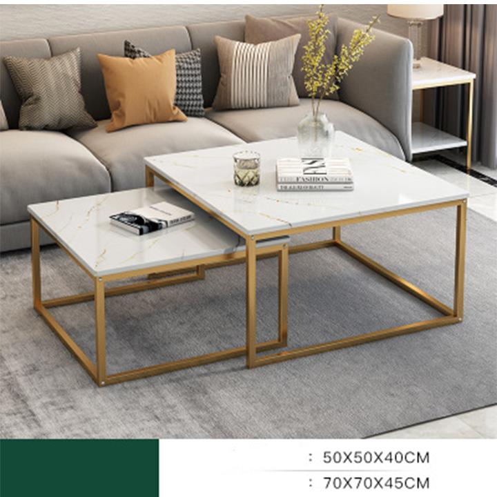 Bàn trà đôi cao cấp, bàn trà mặt vân đá đẹp, bàn sofa BAH012