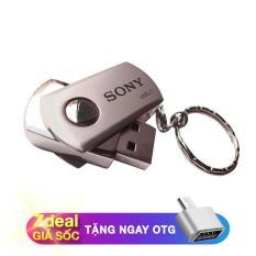 USB thương hiệu Sony 32GB vỏ kim loại màu bạc kèm móc khoá tiện lợi (Tặng kèm đầu chuyển OTG)