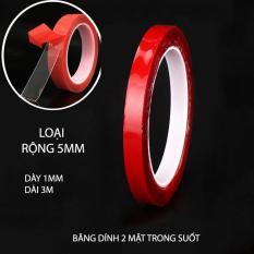 Băng dính 2 mặt loại acrylic trong suốt, chịu nhiệt, chịu lực (dày 1mm, dài 3m)