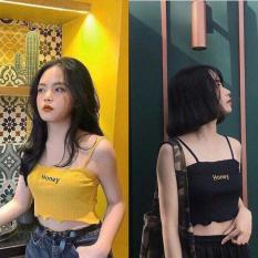 Áo hai dây croptop in chữ Honey thun gân mỏng mát hot nhấ hè 2019