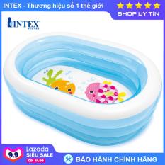 Bể bơi phao mini cho bé hình Oval INTEX 57482, hồ bơi trẻ em bơm hơi có 3 tầng, hút xả hơi tiện dụng, màu xanh trong suốt mát mẻ – Chính hãng INTEX, Bảo hành 12 tháng