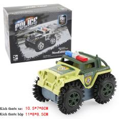 Xe ô tô đồ chơi chạy pin,xe cảnh sát cho bé, chạy bằng pin tiểu (màu xám bánh đen-chưa kèm pin) nhựa ABS an toàn