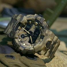 Đồng hồ thể thao nam chống nước phong cách lính USA Smael 806801 Kakhi Bảo Hành 12 tháng