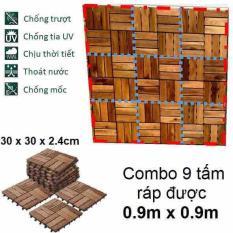 Combo 9 tấm loại 12 nan – Ván Sàn Gỗ Tự Nhiên Vỉ Nhựa EDEN CLICK-ON Tự Lắp Ráp Ngoài Trời IKEA