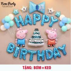 Set bóng trang trí sinh nhật heo xanh tặng bơm