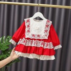 Đầm váy bé gái dài tay diện noel, Tết chất kate lụa phối ren màu đỏ cho bé từ 8kg đến 22kg