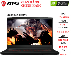 Laptop MSI GF63 Thin 10SCXR-074VN i7-10750H | 8GB | 512GB |GTX 1650 4GB | 15.6″ FHD | Win 10