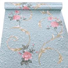 10m giấy dán tường hoa hồng nền xanh khổ rộng 45cm có keo dán sẵn