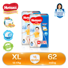 Bộ 2 Tã/bỉm quần Huggies Super Jumbo XL62 – Gói 62 miếng (Cho bé 12kg – 17kg)