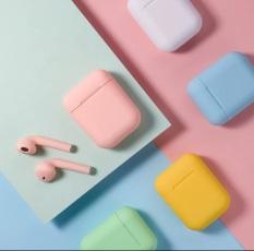 Tai nghe nhét tai không dây mini Macaron i12 kết nối Bluetooth âm thanh nổi sống động có thể cảm ứng kèm hộp sạc dành cho điện thoại iPhone Android Huawei Xiaomi Samsung OPPO Vivo