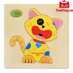 (Chủ đề vật nuôi) Bộ đồ chơi tranh gỗ ghép hình trí tuệ cho bé – Montessori