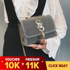 [Voucher 10k+ Freeship 11k] Túi nữ đeo vai xách tay kim tuyến đính chữ S Onimax DV835