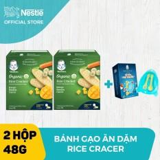 [Tặng 1 Bộ chén ăn dặm phi thuyền] Bộ 2 Bánh gạo hữu cơ Gerber Organic vị chuối xoài cà rốt ( hộp 48g)
