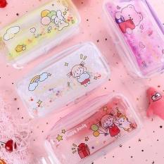 (Tặng kèm 1 bút viết) Bóp viết, túi bút trong suốt nhũ kim tuyến Cô Bé, chất liệu PU, kích thước 20×10 cm, đựng được nhiều bút viết – SakuraShop
